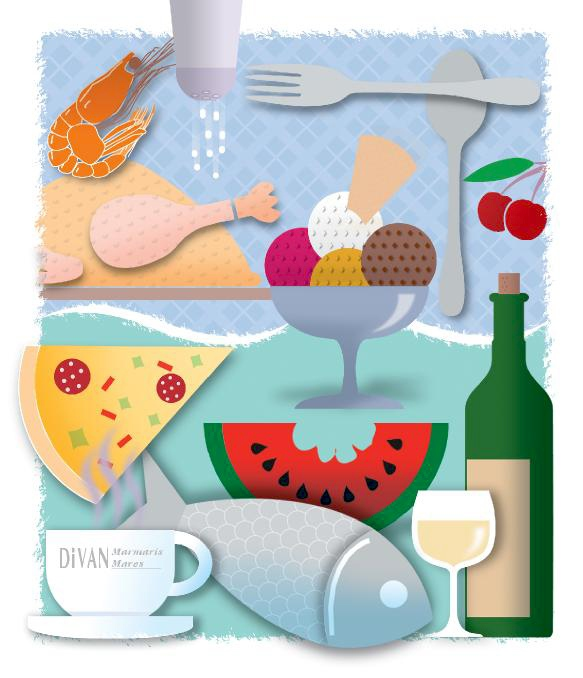 Illustration for Divan Hotel's menu cover