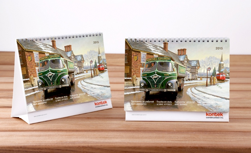 """Trucks on duty"" themed table calender for Kontek (2015)"
