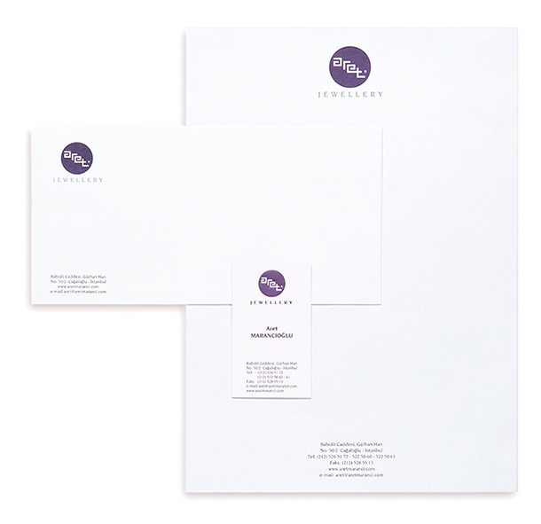 Corporate identity design for Aret Jewellery (2003)