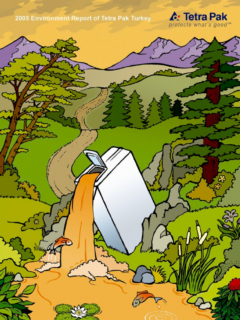 Illustration for the cover of Tetra Pak's Environment Report (2005)