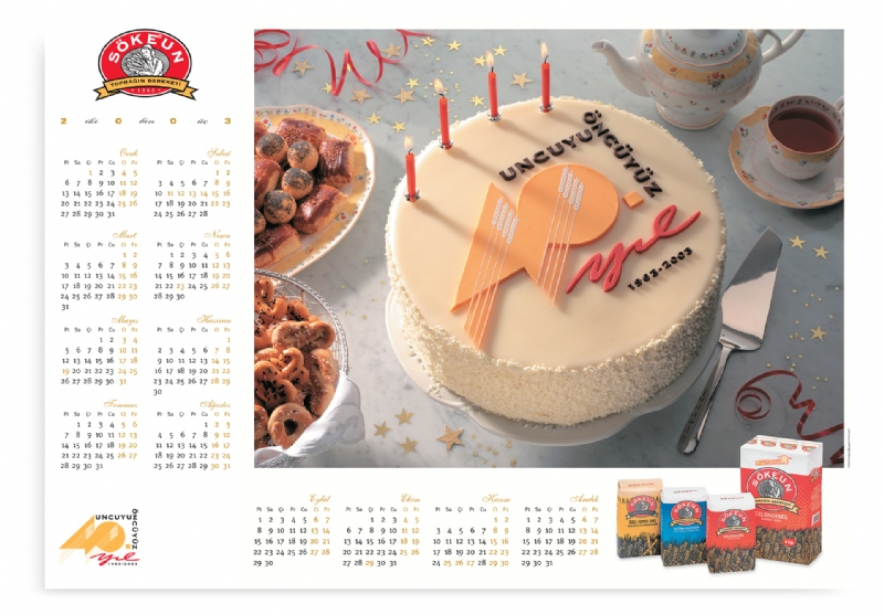 Wall calender for the 40th anniversary of the flour brand Söke (2003)