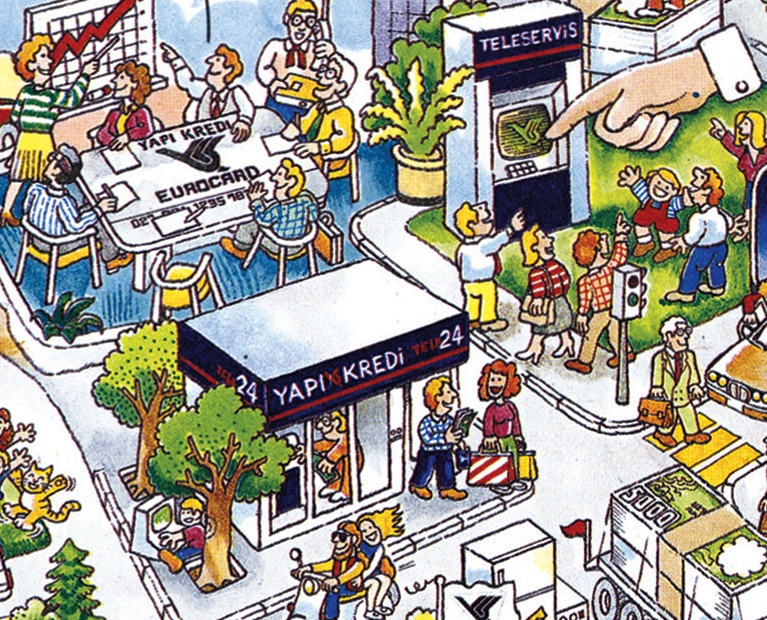 Illustrations for Yapı Kredi Bank's newspaper campaign (1991)
